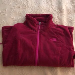 M Raspberry Color North Face Zip-Up